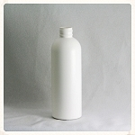 8 oz White HDPE Modified Boston Round (Plastique) Bottle 24-410