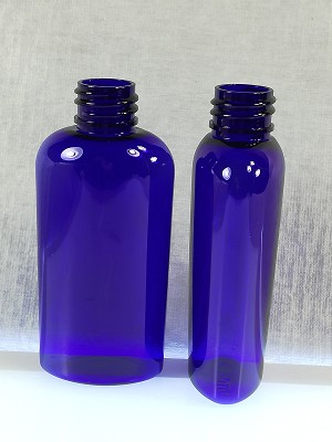 2 oz Cobalt Blue PET Cosmo Oval Bottle 20-410
