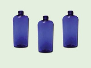 4 oz. Cobalt Blue PET Cosmo Oval Bottle 20/410
