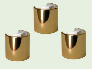 24-410 Gold and White Metal Clad Smooth Disc Dispensing Cap