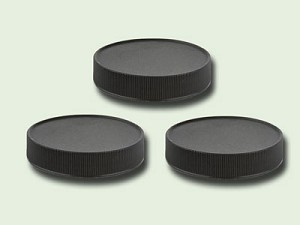 89/400 Black Polypropylene Fine Ribbed Unlined Lid